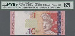 Malaysia: 10 Ringgit ND(2004) P. 46 With Interesting Serial Number #FZ1000000 In Condition: PMG Grad - Malaysia