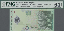 Malaysia: 5 Ringgit ND(2004) Polymer P. 47 With Interesting Serial Number #CA000011 In Condition: PM - Malaysia