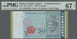 Malaysia: Set Of 2 CONSECUTIVE Notes 50 Ringgit 2007 Commemorative Issue With Yellow Borders P. 49a - Malaysia