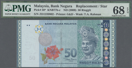 Malaysia: 50 Ringgit ND(2009) Replacement Prefix ZD P. 50* In Condition: PMG Graded 68 Superb Gem UN - Malaysia