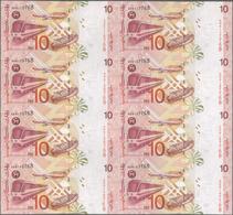 Malaysia: Uncut Sheet Of 8 Pcs 10 Ringgit ND(1997) P. 42 In Condition: UNC. (8 Pcs Uncut) - Malaysia