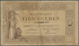 Netherlands / Niederlande: 10 Gulden 1898 P. 2, Very Rare, Used With Staining In Paper, Strong Cente - Netherlands