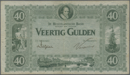 Netherlands / Niederlande: 40 Gulden 1923 P. 37, Rare Note With 3 Vertical And One Horizontal Fold, - Netherlands