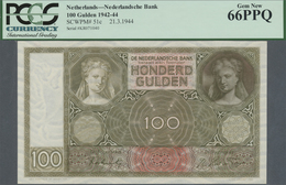 Netherlands / Niederlande: 100 Gulden 1944, P.51c In Perfect Condition, PCGS Graded 66 Gem New PPQ - Netherlands