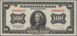 Netherlands / Niederlande: 100 Gulden 1943 P. 69a, Only A Very Very Light Center Fold, Light Handlin - Netherlands