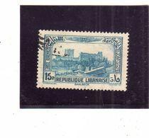 LIBANO LEBANON LIBAN 1937 1940 AIR MAIL POSTA AEREA AERIENNE RUINS OF BAALBECK ROVINE 15p USATO USED OBLITERE' - Libano