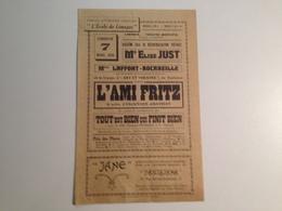 Programme Du Cercle Littéraire Du Limousin, 1926, L'Ami Fritz - Programmi
