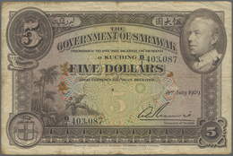 Sarawak: 5 Dollars 1929 P. 15 Getting More And More Rare On The Market, In Used Condition With Folds - Malaysia