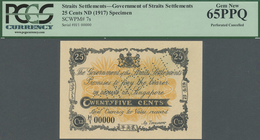 Straits Settlements: Highly Rare 25 Cents ND(1917) SPECIMEN P.7s, PCGS Graded 65 PPQ - Malaysia