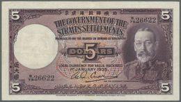 Straits Settlements: 5 Dollars 1935 P. 17b In Exceptional Condition, With 3 Light Vertical And One V - Malaysia