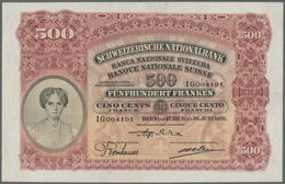 Switzerland / Schweiz: 500 Franken 1931 P. 36b, Great Condition With Only A Center And Horizontal Fo - Switzerland