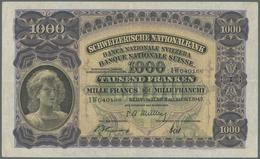 Switzerland / Schweiz: 1000 Franken 1947 P. 37h, Center And Horizontal Fold, Some Light Corner Foldi - Switzerland