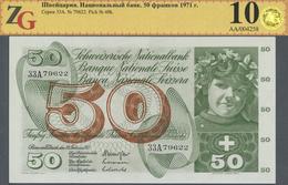 Switzerland / Schweiz: 50 Franken 1971, P.48k In Perfect Condition, ZG Graded 60 Unc - Switzerland