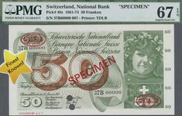 Switzerland / Schweiz: 50 Franken 1972 Specimen P. 48s, PMG Graded 67 Superb GEM UNC EPQ. - Switzerland
