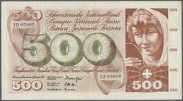 Switzerland / Schweiz: 500 Franken 1965 P. 51d, Center And Horizontal Fold, Light Creases In Paper, - Switzerland