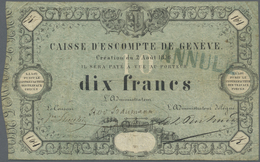 "Switzerland / Schweiz: 10 Francs 1856, Caisse D'Escompte De Genève, P. S311, Stamped ""Annulé"", Used - Switzerland"
