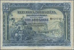 Angola: 10 Angolares 1926 P. 67, Used With Several Folds And Creases But Without Holes Or Tears, No - Angola