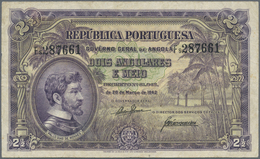 Angola: 2 1/2 Angolares 1942 P. 69, Folds In Paper, Pressed, No Holes Or Tears, Condition: F To F+. - Angola