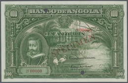 """Angola: 100 Angolares 1927 With Red Overprint """"SPECIMEN"""", Punch Hole Cancellation And Serial Number - Angola"""