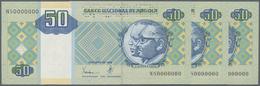 Angola: Set Of 3 Pcs 50 Kwanzas 1999 Specimen P. 146as With Zero Serial Numbers, Specimen Perforatio - Angola