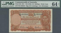 Australia / Australien: 10 Shillings ND(1942) P. 25b, Condition: PMG64 Choice UNC NET (previously Mo - Australia
