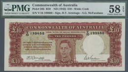 Australia / Australien: 10 Pounds ND(1942), P.28b With Signature Armitage/McFaralane, P.28b PMG 58 C - Australia