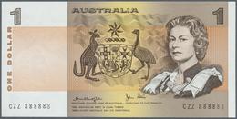 Australia / Australien: 1 Dollar ND(1974-83), P.42b With Solid Number CZZ 888888 In UNC. Rare! - Australia