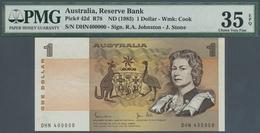 Australia / Australien: 1 Dollar ND(1974-83), P.42d With Fancy Number DHN 400000 PMG 35 Choice VF EP - Australia