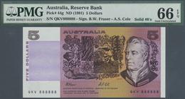 Australia / Australien: 5 Dollars ND(1991), P.44g With Solid Number QKV 888888 PMG 66 Gem UNC EPQ Ra - Australia