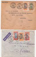 Lot De 2 Lettres Beaux Cachets COTONOU 5 NOV 38 - 5 TIMBRES  AOF-DAHOMEY -lettres PAR AVION Pour LA FRANCE  VOIR 2 SCANS - Dahomey (1899-1944)