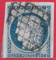 France N°4 Cérès 25c Bleu 1850 O - 1849-1850 Ceres
