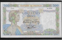 France 500 Francs La Paix - 31-10-1940 - Fayette N°32-8 - TTB - 1871-1952 Circulated During XXth
