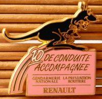 Rare, Joli Pin's Renault - Gendarmerie Kangourou 10 De Conduite, Fraisse, Très Belle Qualité. - Renault