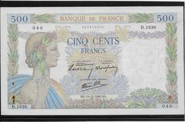 France 500 Francs La Paix - 19-12-1940 - Fayette N°32-11 - TTB - 1871-1952 Circulated During XXth