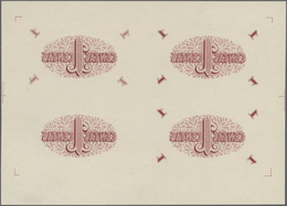Lithuania / Litauen: Highly Rare Set With An Uncut Sheet Of 4 Pcs Of The Backside Of The 1 Centas 19 - Lithuania