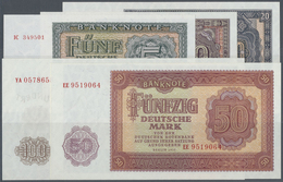 """Deutschland - DDR: Banknotensatz 1955 Von 5 Bis 100 Mark, Dabei Der 100-er Als Ersatznote """"YA"""", Ro.3 - [ 6] 1949-1990 : GDR - German Dem. Rep."""