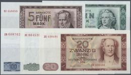 Deutschland - DDR: Banknotensatz 1964 Von 5 Bis 100 Mark, Dabei Die 20, 50 Und 100 Mark Als Ersatzno - [ 6] 1949-1990 : GDR - German Dem. Rep.