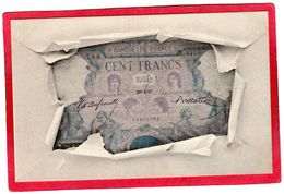 CPA Banque De France Billet De CENT FRANCS Bleu Et Rose 1897 à 1904 ( F1 Précurseur - Coins (pictures)