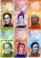 LOT SET SERIE 6 BILLETS VENEZUELA 2 - 5 - 10 - 20 - 50 - 100 BOLIVARES 2007 - 2015 UNC NEUF - Venezuela