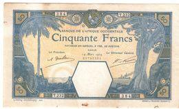 BANQUE DE L'AFRIQU OCCIDENTALE 50 FRANCS 14 03 1929 PRESSATO E LAVATO RARO LOTTO 1475 - 1871-1952 Antichi Franchi Circolanti Nel XX Secolo