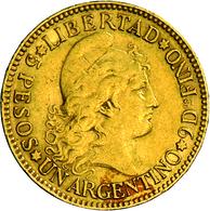 Argentinien - Anlagegold: 5 Pesos / 1 Argentino 1887, KM# 31, Friedberg 14, 8,06 G, 900/1000. Sehr S - Argentina