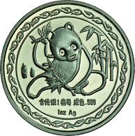 China - Volksrepublik: Medaille 1 OZ Silber 1989 Messe Panda, Anlässlich Der New York International - China