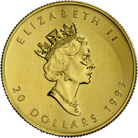 Kanada - Anlagegold: Elisabeth II 1952-,: 20 Dollars 1993, Maple Leaf, Gold ½oz, KM# 190,Stempelglan - Canada