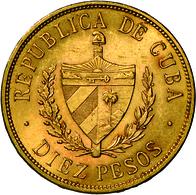 Kuba - Anlagegold: Erste Republik 1902 - 1962: 10 Pesos 1916, Jose Marti, KM # 20, Friedberg 3, Sehr - Cuba