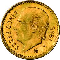 Mexiko - Anlagegold: Lot 3 Goldmünzen: 2 Pesos 1945; 2,5 Pesos 1945; 5 Pesos 1955. - Mexico