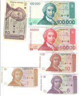 Croazia Dinara 100000 + 50000 1993 + 25 + 10 + 5 + 1 1991   LOTTO 1460 - Croazia