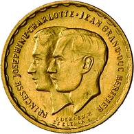 Luxemburg: Charlotte 1919-1964: Goldmedaille Zu 20 Francs, Hochzeit Von Jean Und Josephine Charlotte - Luxembourg