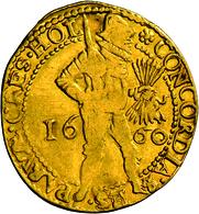 Niederlande: Vereinigte Provinzen 1581-1795. Provinz Holland: 2 Dukaten 1660. Stehender Ritter Mit G - [ 3] 1815-… : Kingdom Of The Netherlands