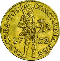 Niederlande: Vereinigte Provinzen 1581-1795. Provinz Holland: 1 Dukat 1752. Stehender Ritter Mit Ges - [ 3] 1815-… : Kingdom Of The Netherlands