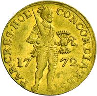 Niederlande: Vereinigte Provinzen 1581-1795. Provinz Holland: 1 Dukat 1772. Stehender Ritter Mit Ges - [ 3] 1815-… : Kingdom Of The Netherlands